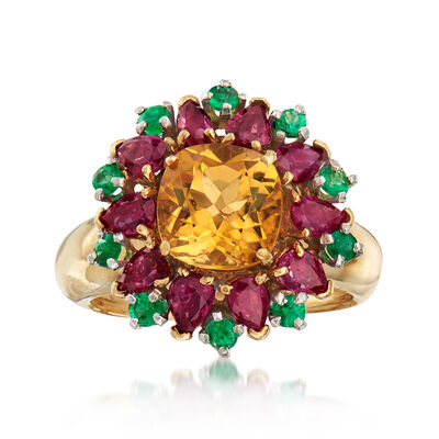 C. 1980 Vintage 3.35 ct. t.w. Multi-Gem Flower Cluster Ring in 18kt Yellow Gold