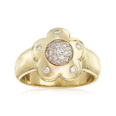 C. 1980 Vintage .75 ct. t.w. Diamond Flower Ring in 14kt Yellow Gold, , default