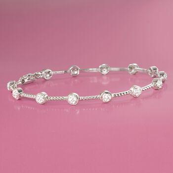 """.20 ct. t.w. Bezel-Set Diamond Station Bracelet in Sterling Silver. 7.25"""", , default"""