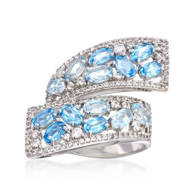 3.10 ct. t.w. Blue Topaz and .75 ct. t.w. Synthetic White Sapphire Bypass Ring in Sterling Silver, , default