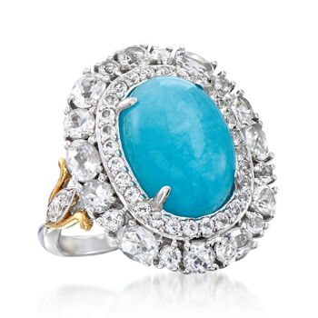 Amazonite and 2.76 ct. t.w. White Topaz Ring in Sterling Silver. Size 7, , default