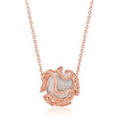 Italian 18kt Two-Tone Gold Ruffled Edge Bead Necklace, , default