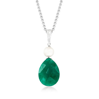 6-6.5mm Cultured Pearl and 7.00 Carat Pear-Shaped Emerald Pendant Necklace in Sterling Silver