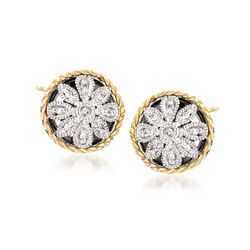 Andrea Candela Two-Tone Floral Earrings With Diamond Accents, , default