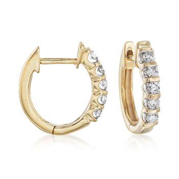 ".25 ct. t.w. Diamond Huggie Hoop Earrings in 14kt Yellow Gold. 1/2"", , default"