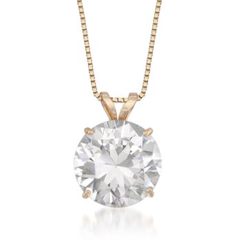 """3.00 Carat CZ Solitaire Necklace in 14kt Yellow Gold. 18"""", , default"""