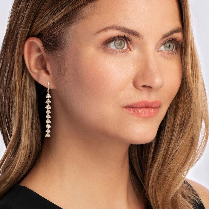 1.33 ct. t.w. Diamond Linear Drop Earrings in 18kt Gold Over Sterling