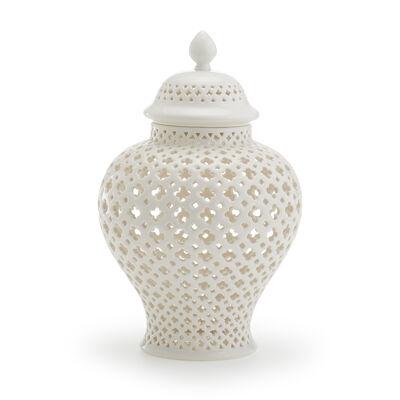 White Carthage Medium Pierced Porcelain Lantern, , default