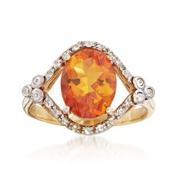 2.50 Carat Citrine and .14 ct. t.w. White Topaz Ring in 18kt Gold Over Sterling, , default