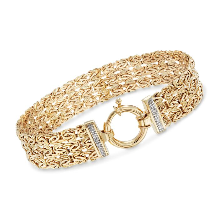 "14kt Yellow Gold Byzantine Bracelet with Diamond Accents. 7.25"", , default"