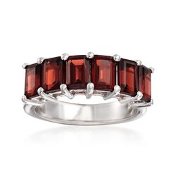 4.50 ct. t.w. Emerald-Cut Garnet Ring in Sterling Silver, , default