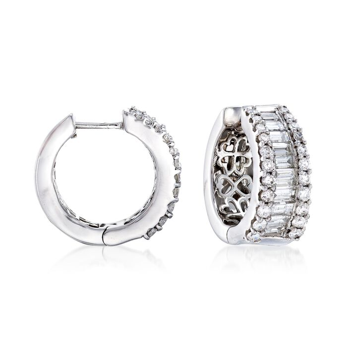 """2.00 ct. t.w. Diamond Hoop Earrings in 14kt White Gold. 5/8"""""""