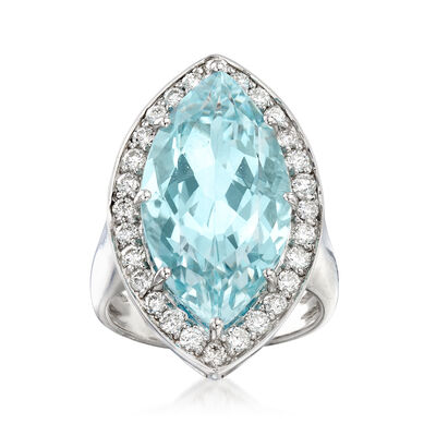 12.00 Carat Aquamarine and .84 ct. t.w. Diamond Ring in 14kt White Gold, , default
