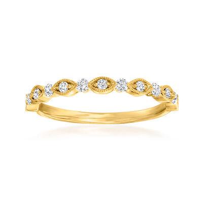 Henri Daussi .20 ct. t.w. Diamond Wedding Ring in 14kt Yellow Gold
