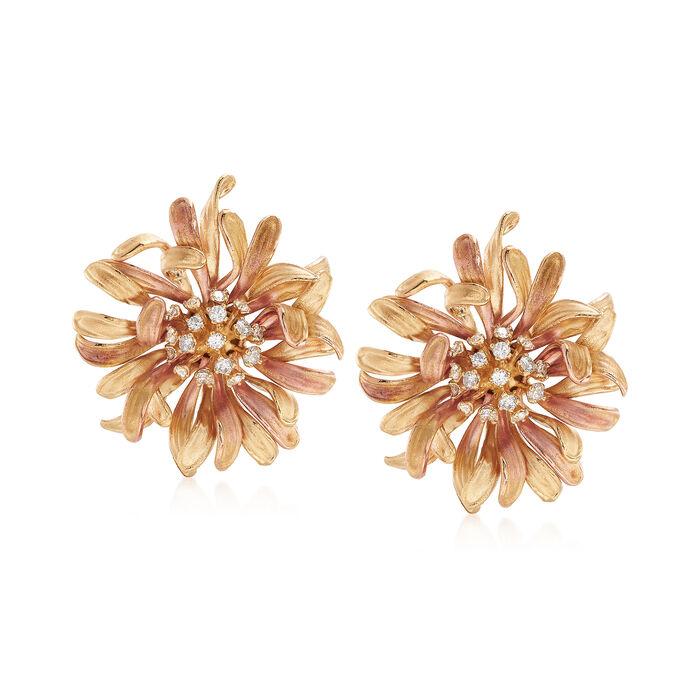 .41 ct. t.w. Diamond Flower Earrings in 14kt Two-Tone Gold. Clip/Post Earrings, , default