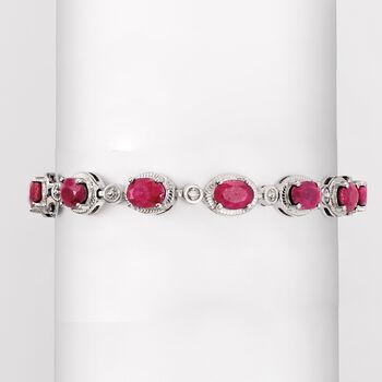 9.10 ct. t.w. Ruby Bracelet in Sterling Silver