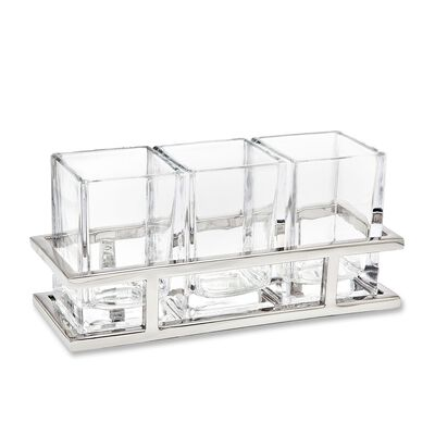Crystal and Stainless Steel Flatware Caddy, , default