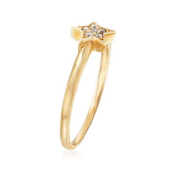 C. 1990 Vintage 14kt Yellow Gold Star Ring with Diamond Accents. Size 7
