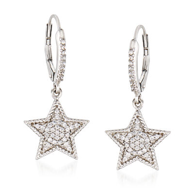 .33 ct. t.w. Diamond Star Drop Earrings in Sterling Silver, , default