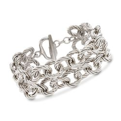 "Italian Sterling Silver Twisted Cable-Link Toggle Bracelet. 7.5"", , default"