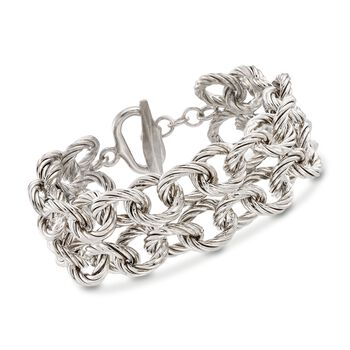 """Italian Sterling Silver Twisted Cable-Link Toggle Bracelet. 7.5"""", , default"""