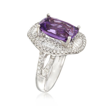 C. 1990 Vintage Cushion-Cut 5.65 Carat Amethyst with 1.17 ct. t.w. Diamond Ring in 18kt White Gold. Size 6.5, , default