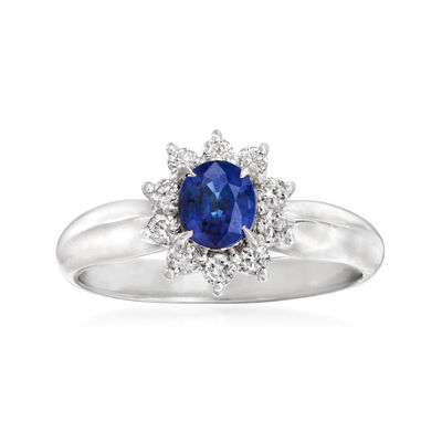 C. 1980 Vintage .58 Carat Sapphire and .27 ct. t.w. Diamond Ring in Platinum