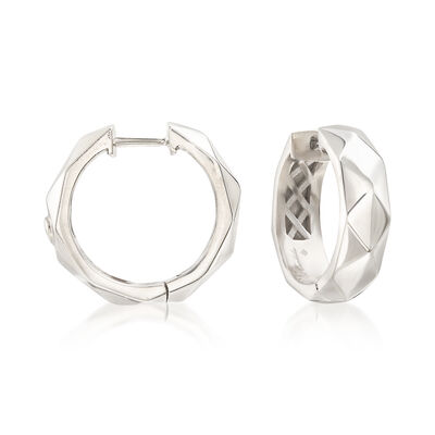 "Andrea Candela ""Facetas"" Sterling Silver Huggie Hoop Earrings, , default"