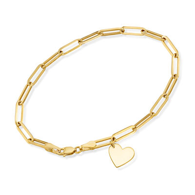 14kt Yellow Gold Link Bracelet with Heart Charm, , default