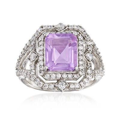 2.70 Carat Amethyst and 1.40 ct. t.w. White Topaz Ring in Sterling Silver, , default