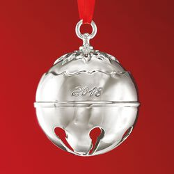 Reed and Barton 2018 Annual Silver Plate Holly Bell Ornament - 43rd Edition, , default