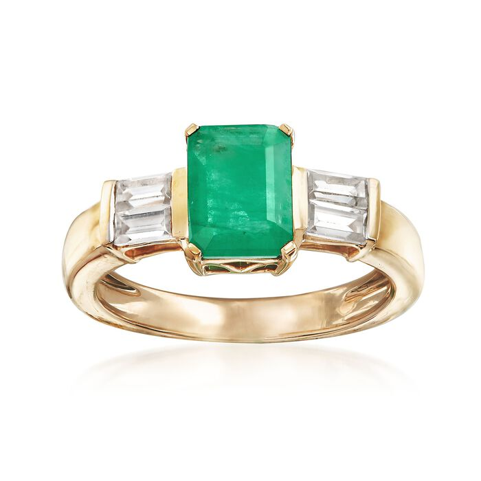 1.20 Carat Emerald and .60 ct. t.w. White Zircon Ring in 14kt Yellow Gold, , default