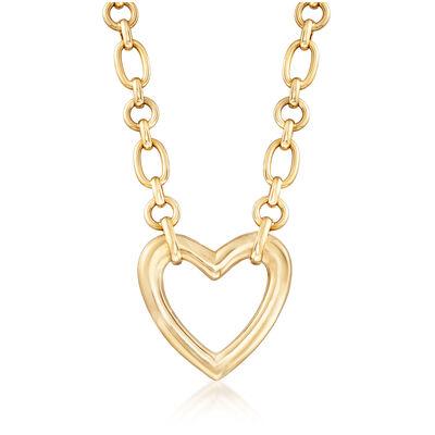 C. 1980 Vintage Van Cleef Heart Link Necklace in 18kt Yellow Gold, , default