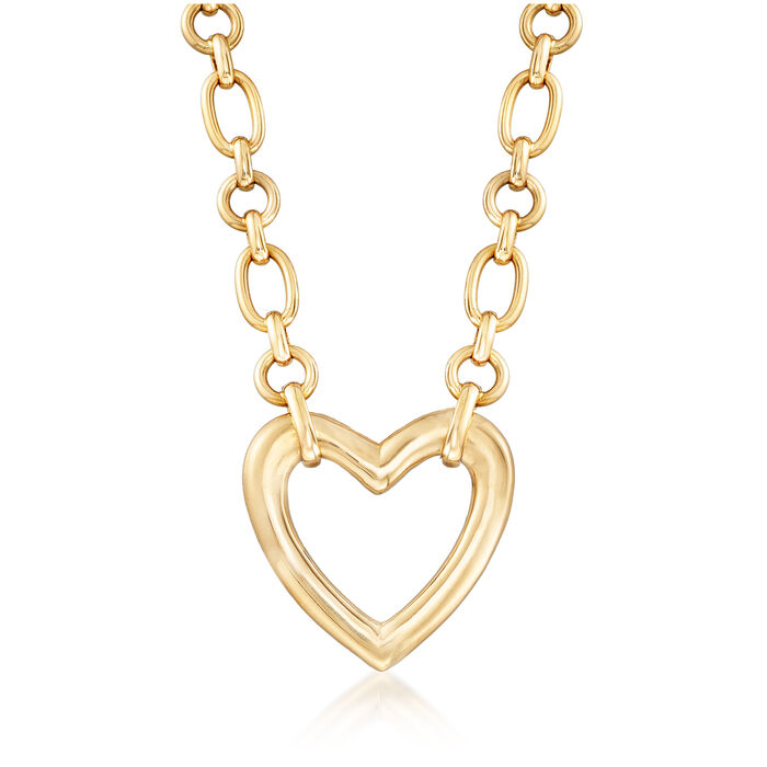 C. 1980 Vintage Van Cleef Heart Link Necklace in 18kt Yellow Gold