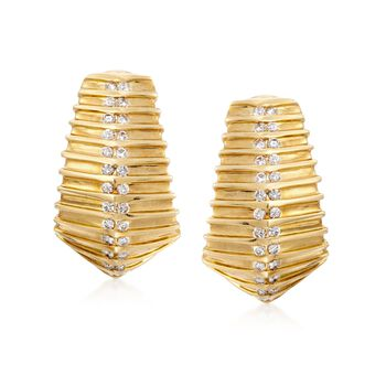 "C. 1970 Vintage 1.30 ct. t.w. Diamond Rigged Hoop Earrings in 18kt Yellow Gold. 1"", , default"