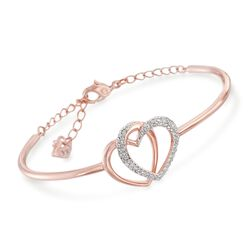 "Swarovski Crystal ""Dear Small"" Crystal Heart Duo Bangle Bracelet in Rose Gold Plate. 7"", , default"
