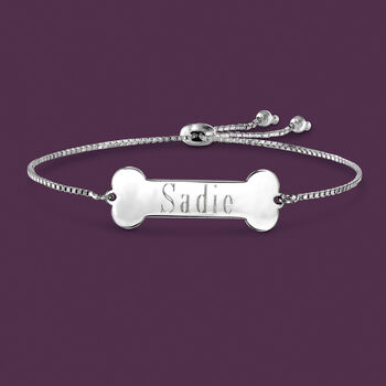 Personalized Dog Bone Bolo Bracelet in Sterling Silver