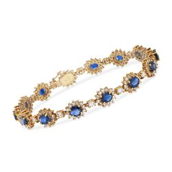 "C. 1990 Vintage 4.90 ct. t.w. Sapphire and 3.75 ct. t.w. Diamond Bracelet in 18kt Yellow Gold. 6.75"", , default"