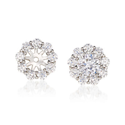 1.00 ct. t.w. CZ Floral Earring Jackets in 14kt White Gold, , default