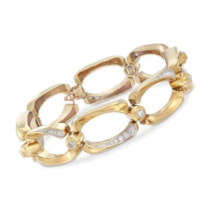 "C. 1980 Vintage 1.20 ct. t.w. Diamond Open-Link Bracelet in 14kt Yellow Gold. 7.25"", , default"