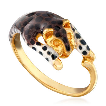 Leopard Enamel Ring in 18kt Yellow Gold Over Sterling Silver, , default