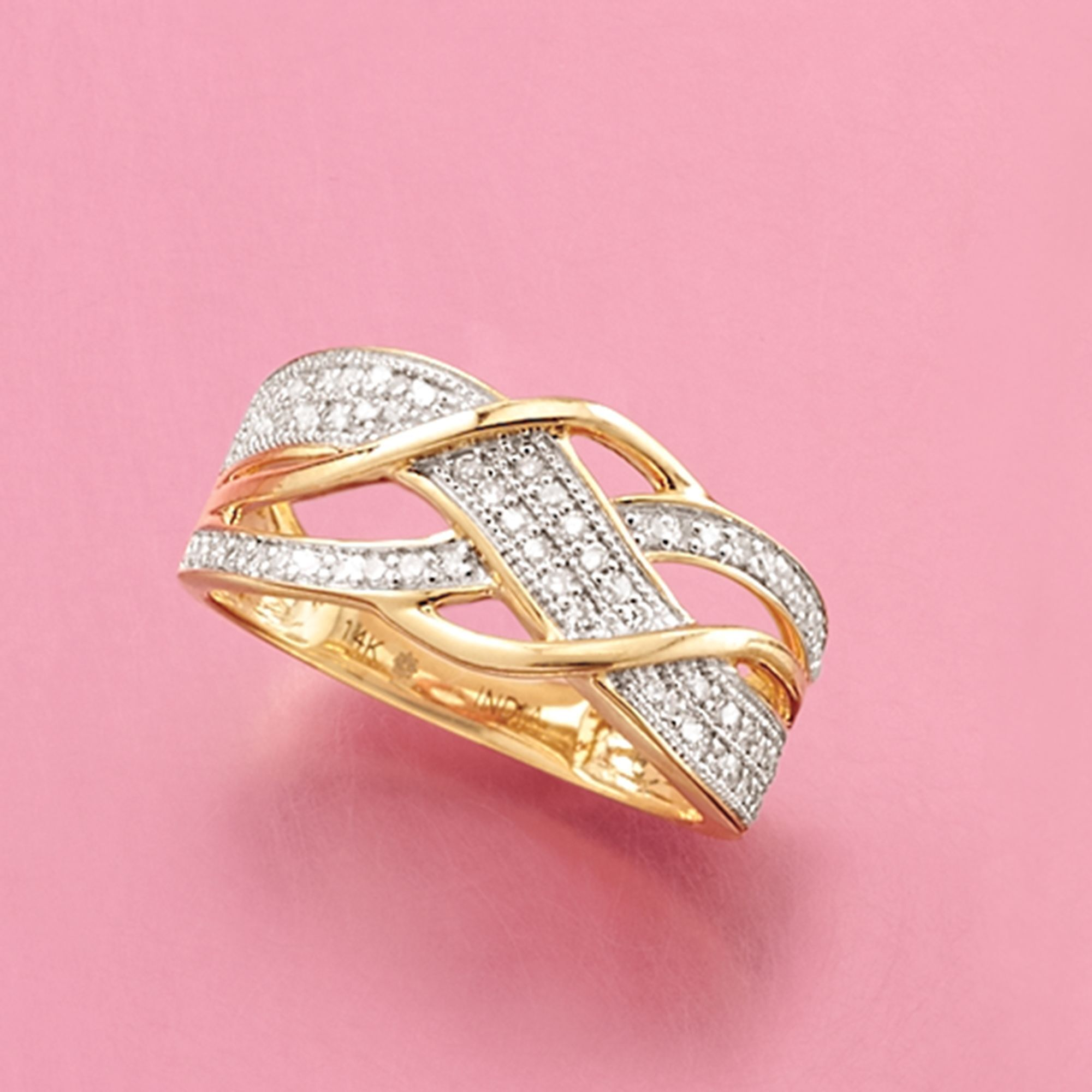 27 ct. t.w. Pave Diamond Crisscross Ring in 14kt Yellow Gold | Ross ...