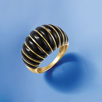 """Black Agate Bamboo Bangle Bracelet with 14kt Yellow Gold. 7"""", , default"""