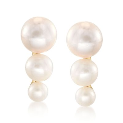 3.5-7mm Cultured Pearl Graduated Trio Drop Earrings in 18kt Gold Over Sterling, , default