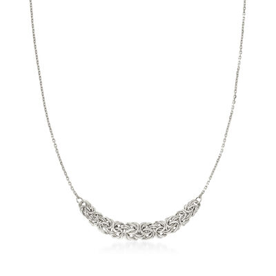 Sterling Silver Byzantine-Link Center Necklace