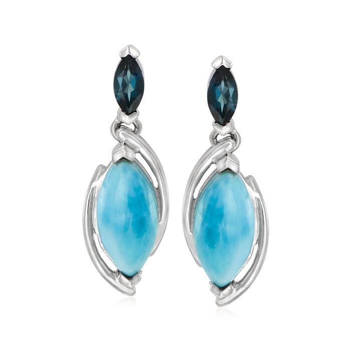 Larimar and .40 ct. t.w. London Blue Topaz Drop Earrings in Sterling Silver