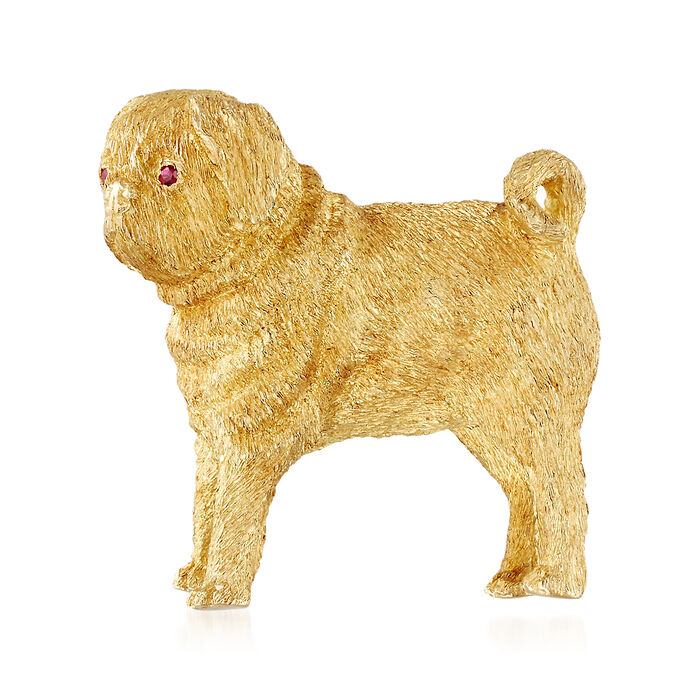 C. 1970 Vintage 18kt Yellow Gold Pug Pin with Ruby Accents, , default