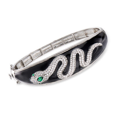 2.10 ct. t.w. CZ and .27 ct. t.w. Simulated Emerald Snake Bangle Bracelet with Black Enamel in Sterling Silver, , default