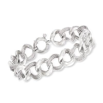 Italian Textured and Polished Sterling Silver Link Bracelet, , default