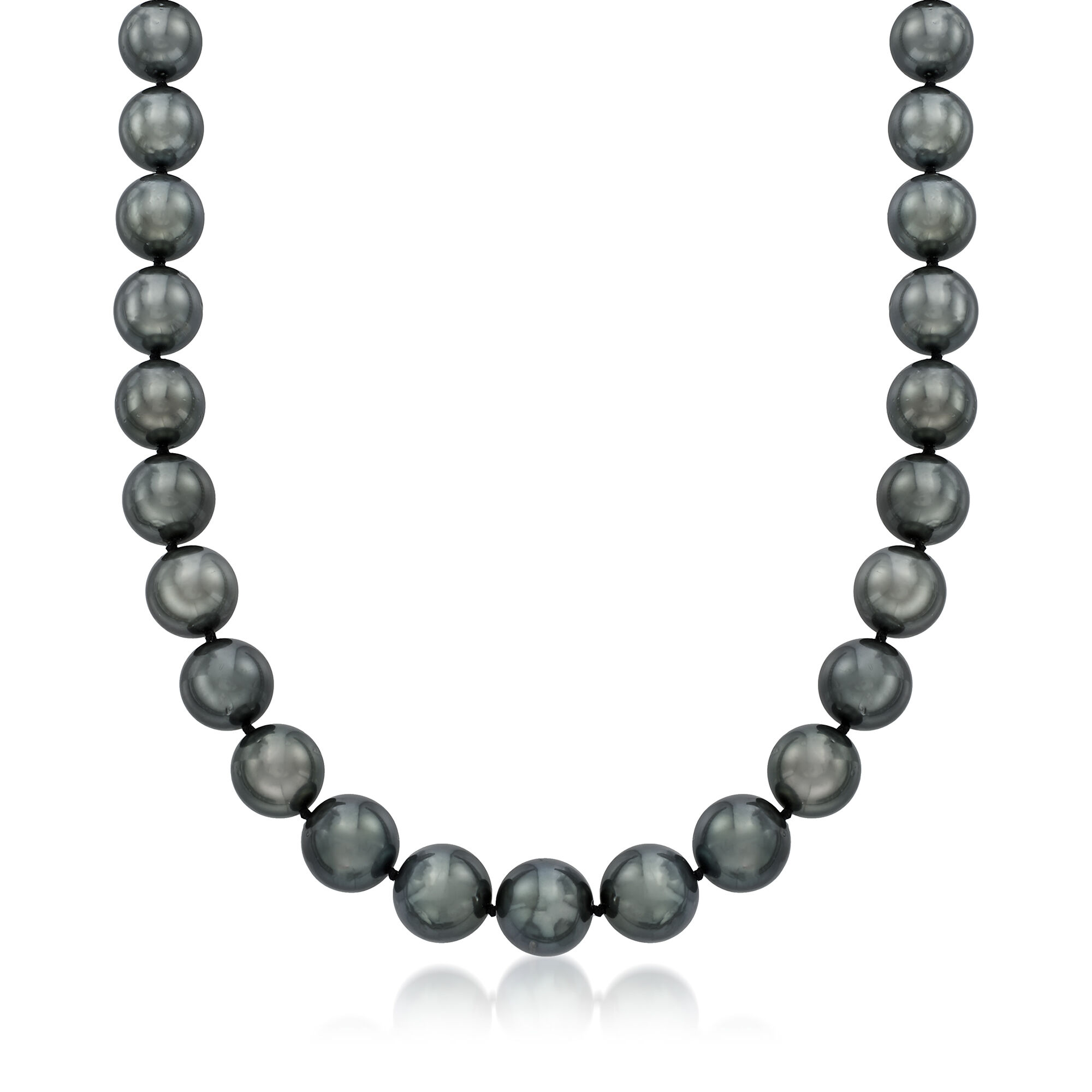 10-12mm baroque tahitian black green pearl necklace 18 inches 14k
